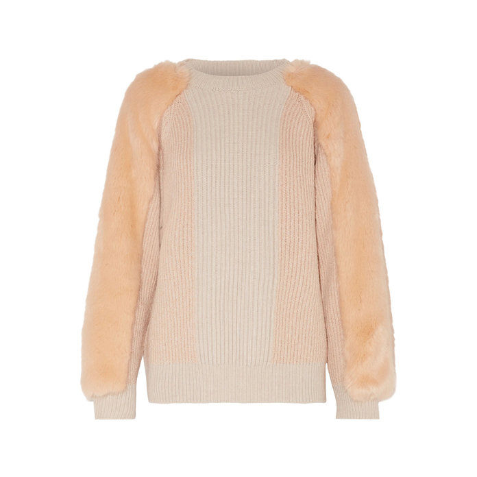FAUX FUR-PANELED RIBBED WOOL SWEATER