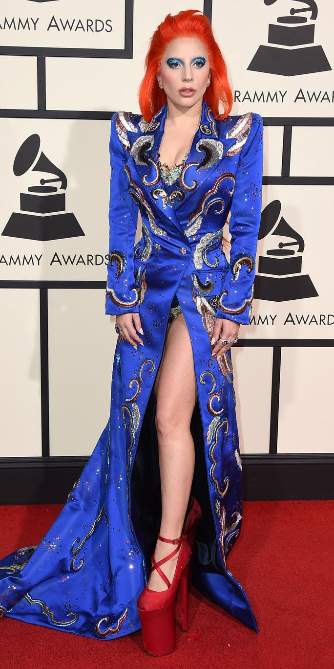 淑女 Gaga arrives at the 58th annual Grammy Awards at the Staples Center on Monday, Feb. 15, 2016, in Los Angeles. (Photo by Jordan Strauss/Invision/AP)