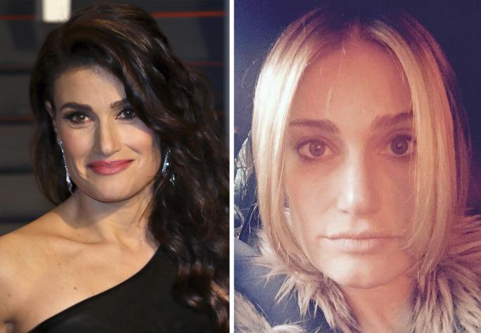 Idina Menzel at the Vanity Fair 2015 Oscar Party (L); Idina Menzel goes blonde (R)