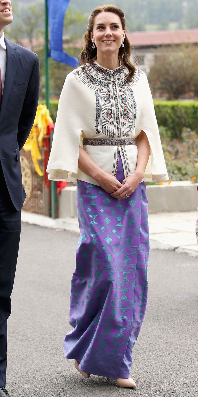 凯瑟琳, Duchess of Cambridge walks with Prince William, Duke of Cambridge as part of a ceremonial Chipdrel on arrival into the Tashichhodzong (fortress) on the first day of a two day visit to Bhutan on the 14th April 2016 in Paro, Bhutan. The Royal cou