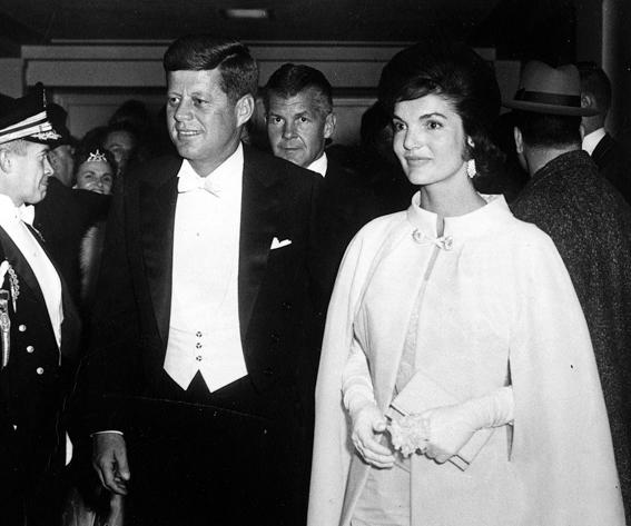 Jackie Onassis, President John F. Kennedy and First Lady Jacqueline Kennedy attend the inaugural ball