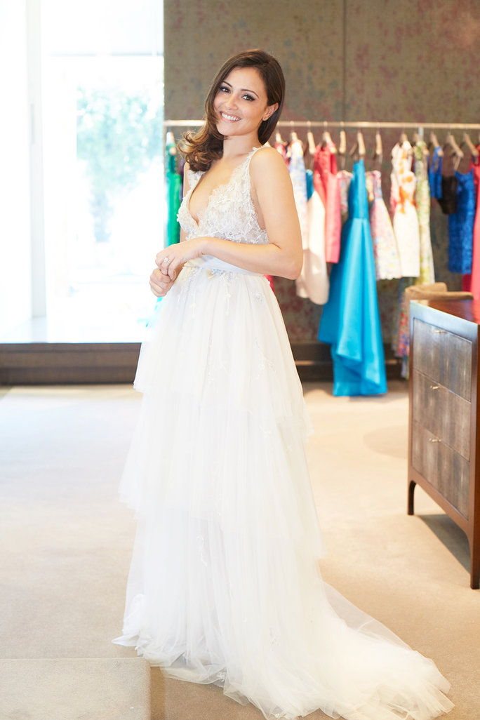 "莫妮克 Lhuillier ""Coralie"" gown with ombre sash and layered Spanish tulle skirt, $7,855."