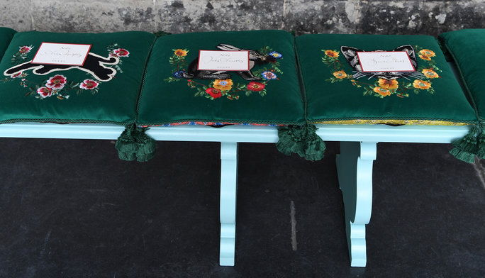 Tam Were Embroidered Gucci Seat Cushions (That You Got to Take Home)