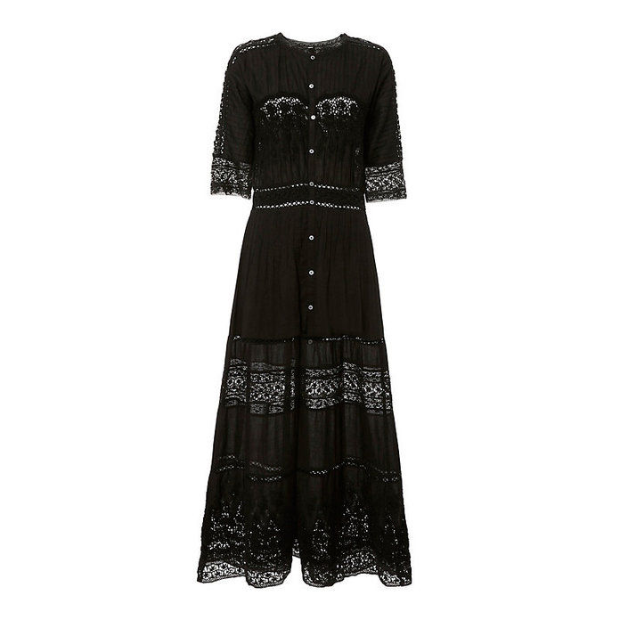 Beth Prairie Lace Button-Down Dress