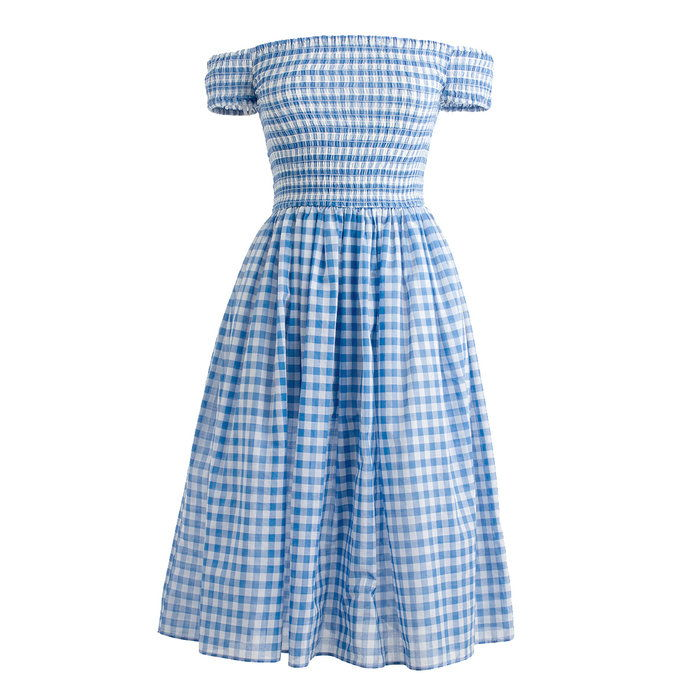 busseronne off-the-shoulder gingham beach dress