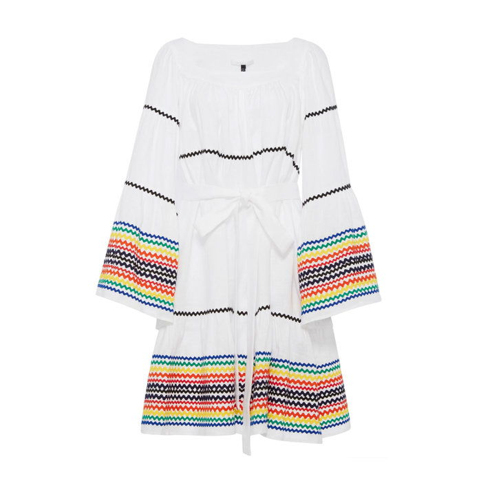 Lang Sleeve Peasant Dress with Multicolored RicRac