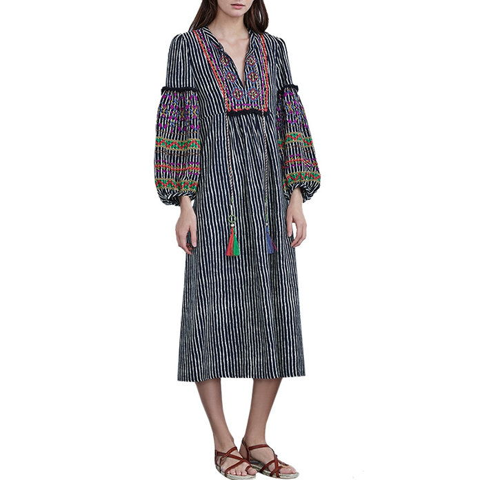 Ilene EMBROIDERED COTTON KAFTAN DRESS