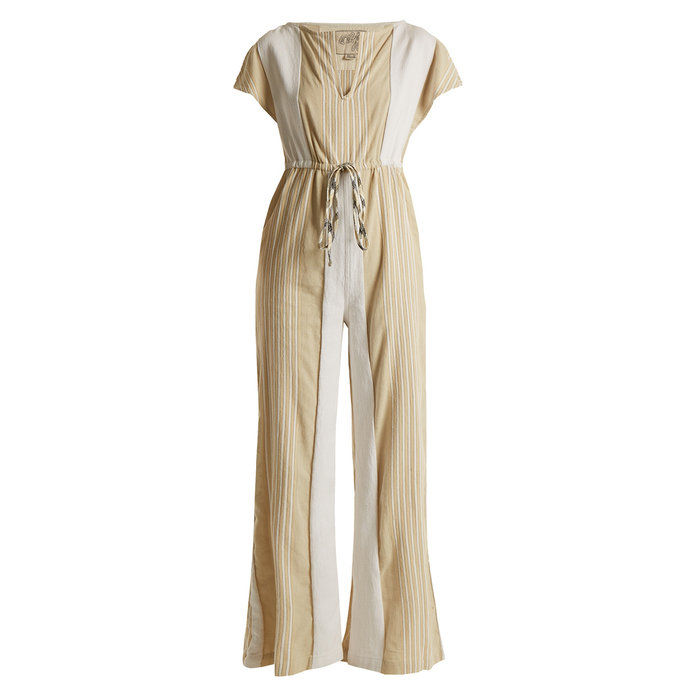 Dragt Up striped cotton-blend jumpsuit