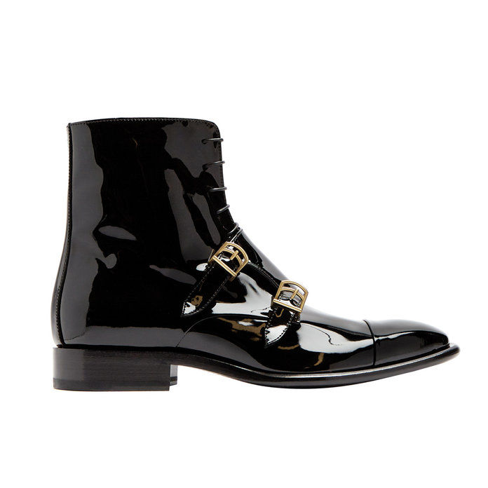 Monk-rem patent-leather ankle boots