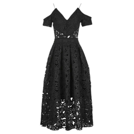 Laser Cut Bardot Prom Dress