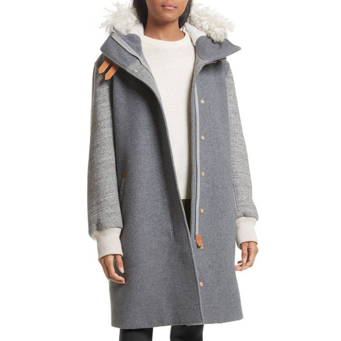 Ægte Shearling Trim Wool Blend Hooded Coat