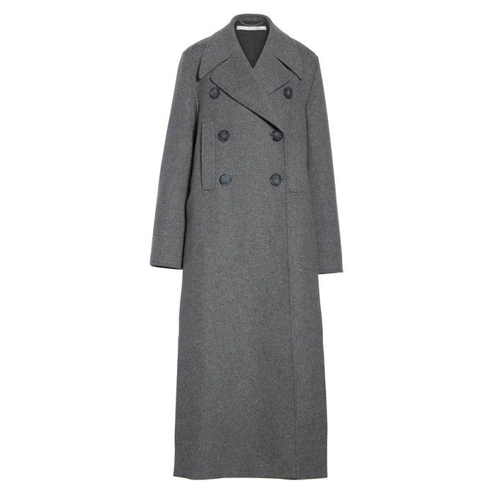 Lang Double Breasted Wool Blend Coat