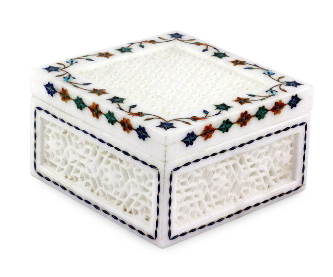 indiske Marble Inlay Jali Jewelry Box
