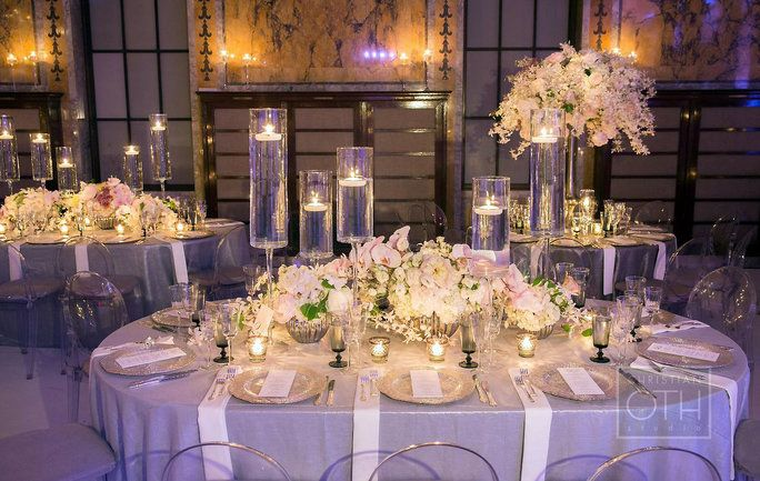 Designer David Beahm infused the soft palette into these gorgeous florals and table settings for a wedding at the historic New York Public Library.