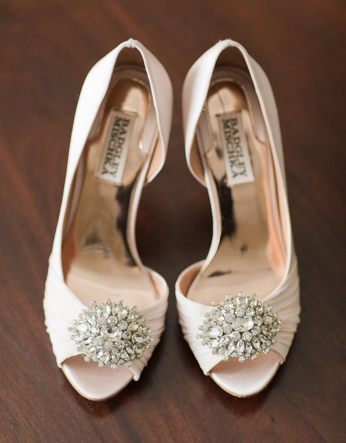 bleg pink takes a spin in these stunning satin and jeweled Badgley Mischka heels.