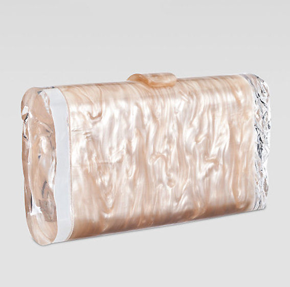 Edie Parker Lara Ice Clutch in Nude