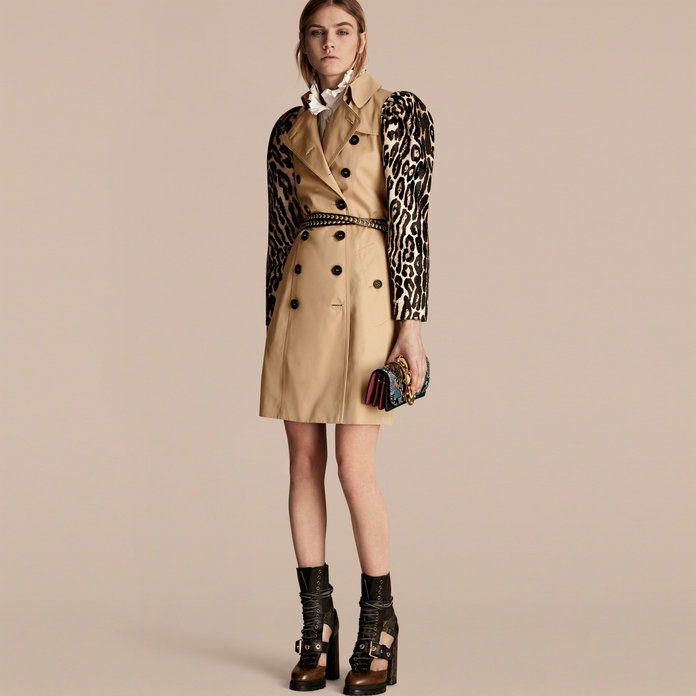 Bombaž Gabardine Trench Coat with Leopard-print Sleeves