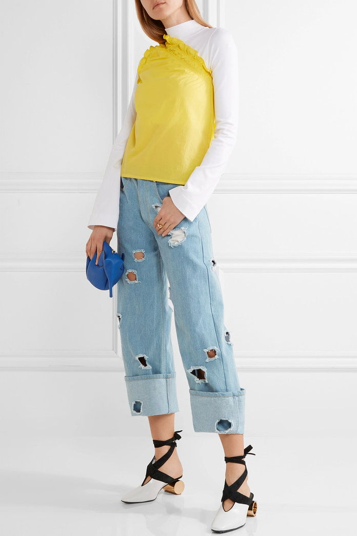 MSGM One-shoulder ruffled cotton-poplin top
