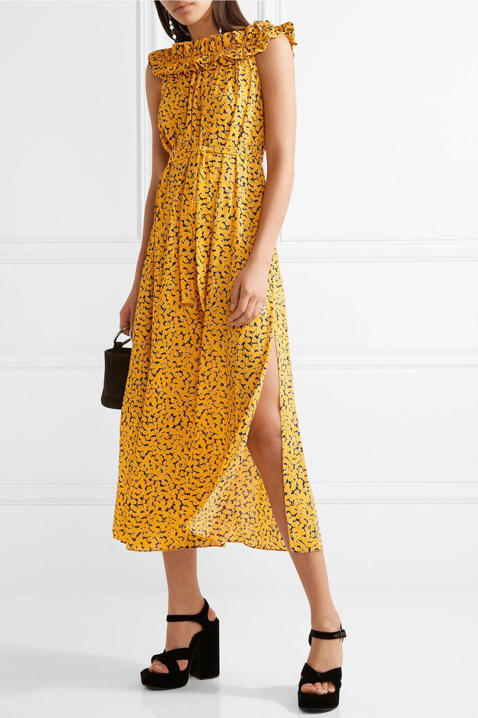 Belted printed stretch-crepe midi dress