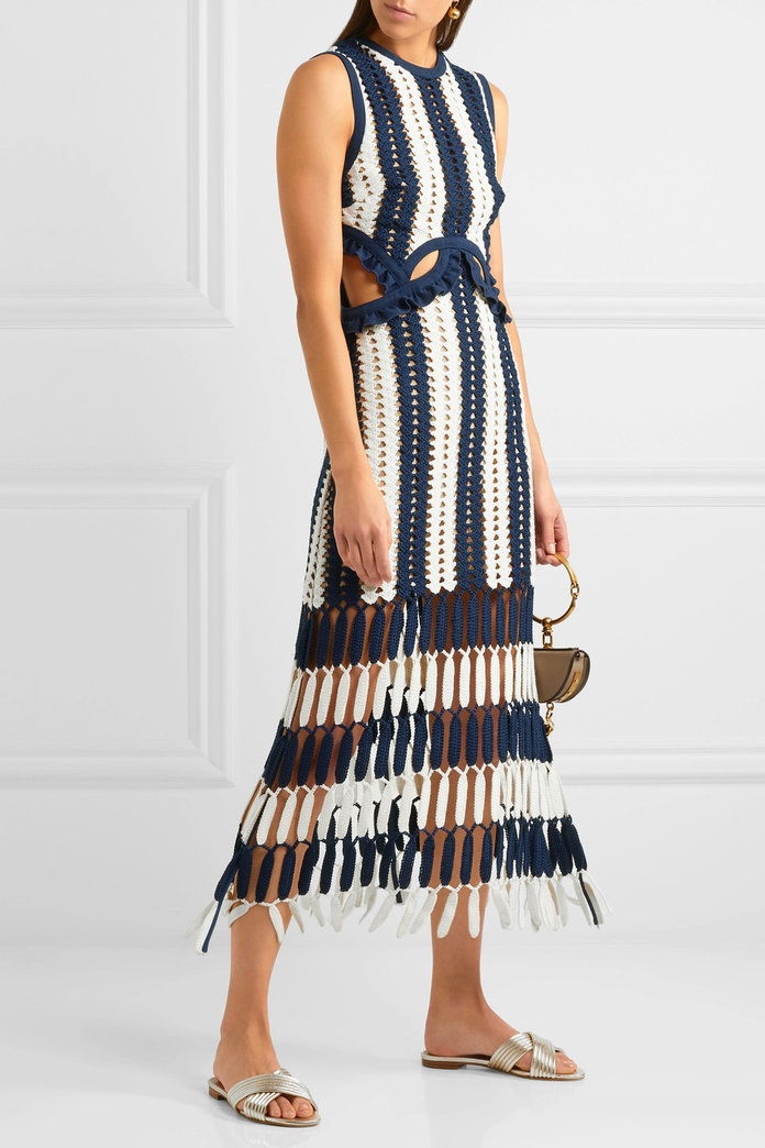 自 Portrait Striped crochet-knit midi dress