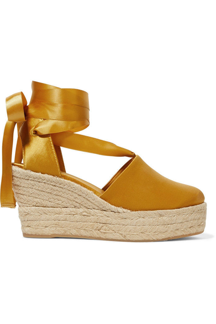 Elisa satin espadrille wedge sandals
