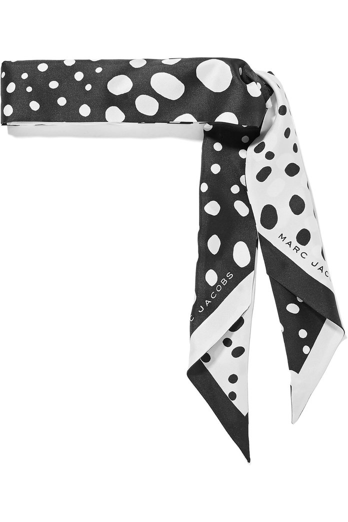 Marc Jacobs Polka-Dot Silk-Satin Twill Scarf