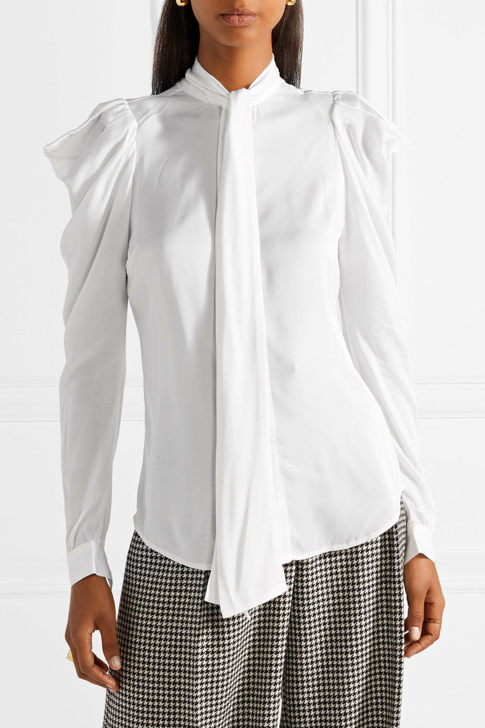 Michael Michael Kors Pussy-bow ruffled stretch-silk blouse