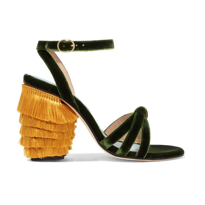GOSPOD by Man Repeller Fringe Block Heel Sandals