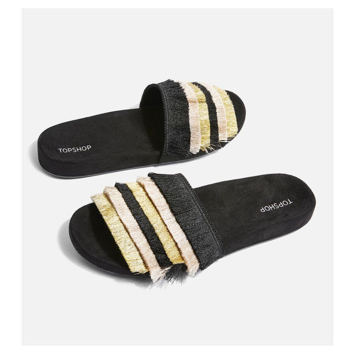Topshop Fringe Slide Sandals